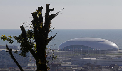The Bolshoy Ice Dome is seen in the background in Sochi