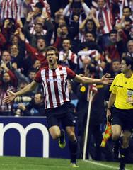 Athletic Bilbao's Fernando Llorente celebrates scoring against Manchester United during their Europa League second leg soccer match in Bilbao