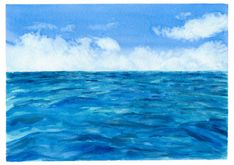 Watercolor sea and blue sky with white clouds