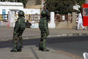 Senegalese soldiers are seen in Soumbedioune area in central Dakar