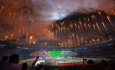 Fireworks are released during the opening ceremony of the 27th SEA Games in Naypyitaw