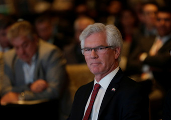 Canada's Natural Resources Minister Jim Carr sits before giving a speech at the Mexico Mining Forum in Mexico City