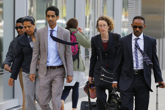 A friend of accused Boston Marathon bomber Tsarnaev who is charged with lying to investigators, arrives for a hearing in his case at the federal courthouse in Boston
