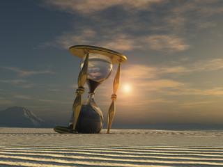 Reloj de arena en el desierto