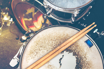 Music background.Drumkit on stage lights performance.Live music.Concert and band on stage.Festival and show background