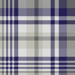 Blue gray check textile seamless pattern