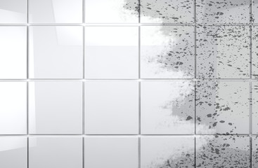 Clean tile wall bathroom.Background cleaning concept and housework