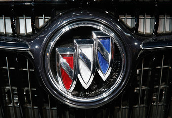 The Buick logo is shown as the 2017 Buick LaCrosse is introduced during the Los Angeles Auto Show in Los Angeles