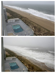 Combination photo shows the surf at (EST) 15:40 and 18:50 as Hurricane Irene approaches Ocean City, Maryland