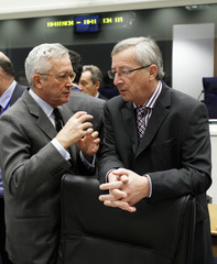 Luxembourg's PM and Eurogroup Chairman Juncker talks with Italy's Finance Minister Tremonti in Luxembourg