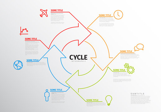 Overlapping Arrows Circular Infographic Layout
