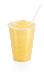 Peach, Mango, or Orange Shake or Smoothie on White Background