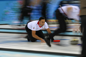 Britain against Canada in men's curling gold medal game at the 2014 Sochi Olympics
