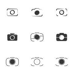 Vector illustration on white background, camera Icon