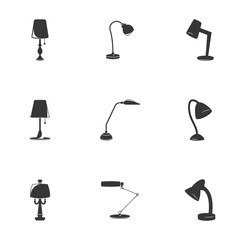 Vector illustration on a theme Lighting and table lamps. White background