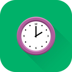 Clock icon. Vector. Flat design with long shadow. Violet time symbol isolated on green background.