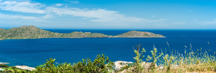 Greece Crete, turquoise bay panorama from top of hill