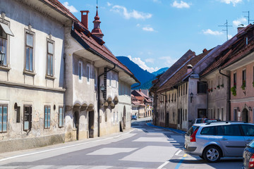 Streets in the town of Skofja Loka, Slovenia