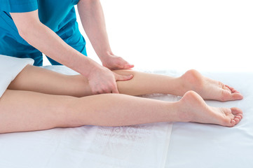Leg massage in the Physiotherapy clinic, closeup