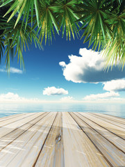 3D wooden table looking out to tropical ocean