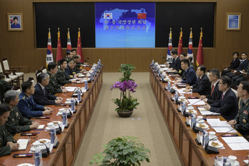China's Defence Minister Chang Wanquan attends a meeting with his South Korean counterpart Han Min-koo at the Defense Ministry in Seoul