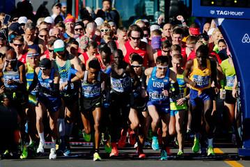 Men compete during the 2016 New York City Marathon in the Manhattan borough of New York