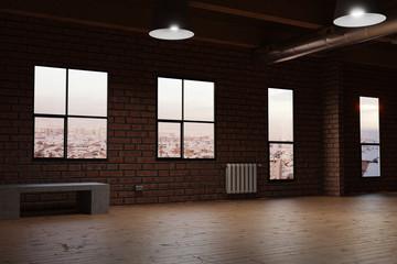 Leeres Studio mit Parkettboden und roten Backsteinen