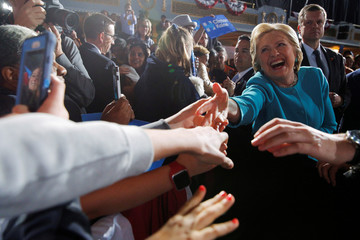 U.S. Democratic presidential nominee Hillary Clinton greets audience members at a campaign rally in Cleveland