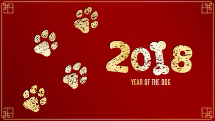 The year 2018 is a earth dog. Golden traces in grunge style on a red background with a pattern. Chinese New Year. Vector illustration