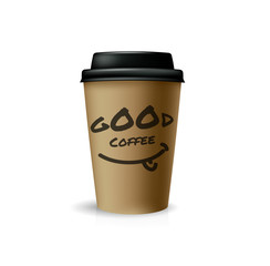 Good coffee for take-out. Brown paper cup with black cap