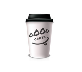 Good coffee for take-out. White paper cup with black cap and cup holder