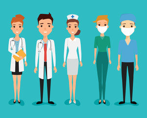 Set of avatar doctor character for medicine. illustration vector of a flat design.