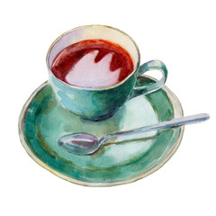 The tea cup with dish and spoon isolated on white background, watercolor illustration in hand-drawn style.