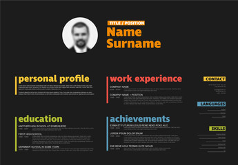 Dark Landscape Resume Layout 2