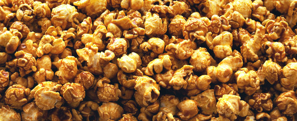 Panorama of caramel popcorn