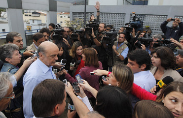 Brazil's presidential candidate Jose Serra of the PSDB speaks to reporters during a campaign rally in Rio de Janeiro