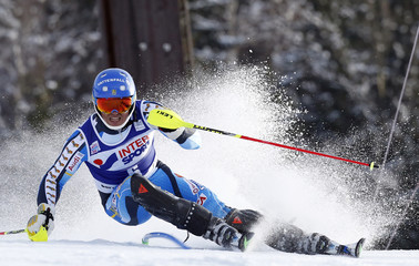 Myhrer of Sweden passes a pole during the first run of the World Cup Alpine skiing men's slalom race in Bormio