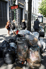 A pile of rubbish bags is seen on the Grands boulevards in Paris during a strike of garbage collectors and sewer workers of the city of Paris
