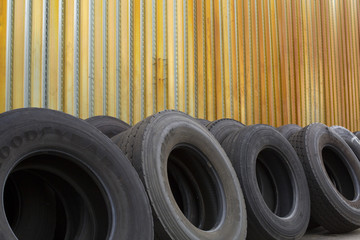 tires in industrial lot-closeup
