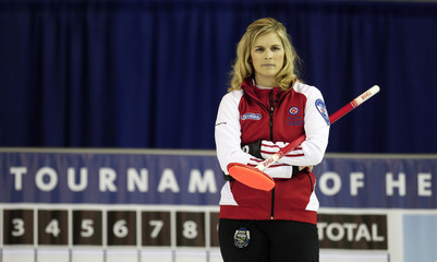 Team Canada skip Jones looks on as her team plays Quebec at the Scotties Tournament of Hearts curling championship in Charlottetown