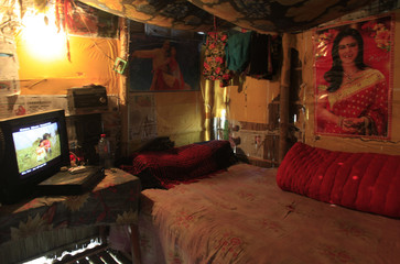 A view of a prostitute's room at a brothel in Faridpur