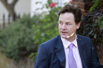 The leader of the Liberal Democrat Party, and Deputy Prime Minister, Clegg, leaves his house in west London