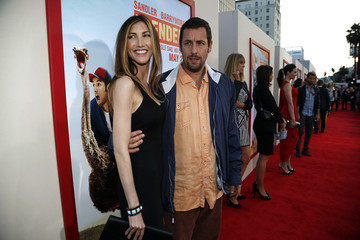 """Actor Adam Sandler poses with his wife Jackie at the premiere of """"Blended"""" in Hollywood"""