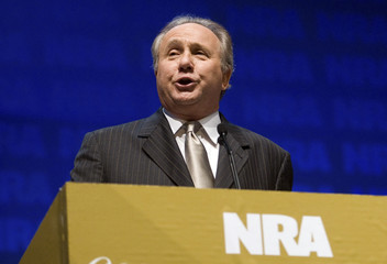 Michael Reagan, son of former U.S. President Reagan, speaks during the National Rifle Association's 139th annual meeting in Charlotte