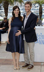 "Director Damian Szifron and cast member Maria Marull, who is pregnant, pose during a photocall for the film ""Relatos salvajes"" in competition at the 67th Cannes Film Festival in Cannes"