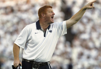 File photo of Penn State assistant football coach McQueary shouting instructions to his team while playing against Alabama at Beaver stadium in State College Pennsylvania