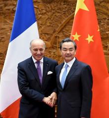 Wang shakes hands with Fabius in Beijing