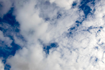 Cloud blue sky. Background with large white clouds in the atmosphere. The idyllic landscape of the firmament.