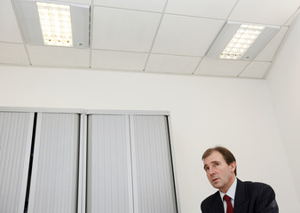 Jersey's Minister for Economic Development Alan Maclean attends an interview with Reuters in St. Helier, Jersey