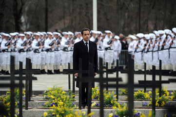 France's President Sarkozy attends a ceremony to pay tribute to World War II resistance fighters at the Necropole de Morette, a military cemetery in Thones
